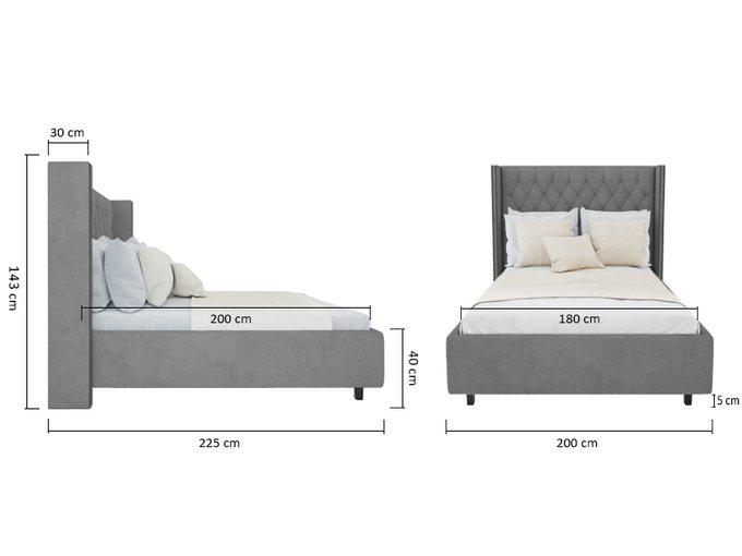 Кровать с декоративными гвоздиками Wing  Лен Серый 180x200 см