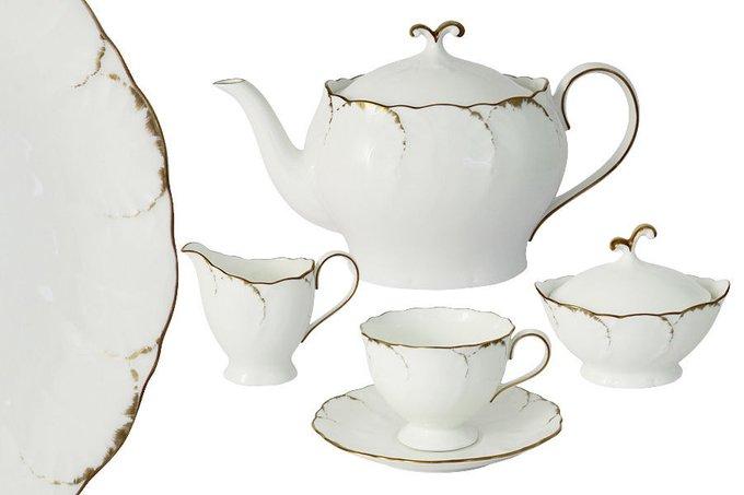 """Чайный сервиз  """"Белый с золотом"""""""