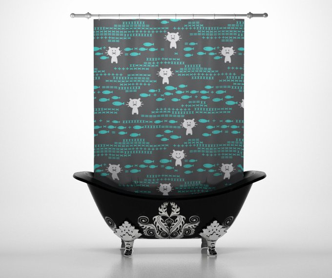 Шторы для ванной: Кисы любят рыбу