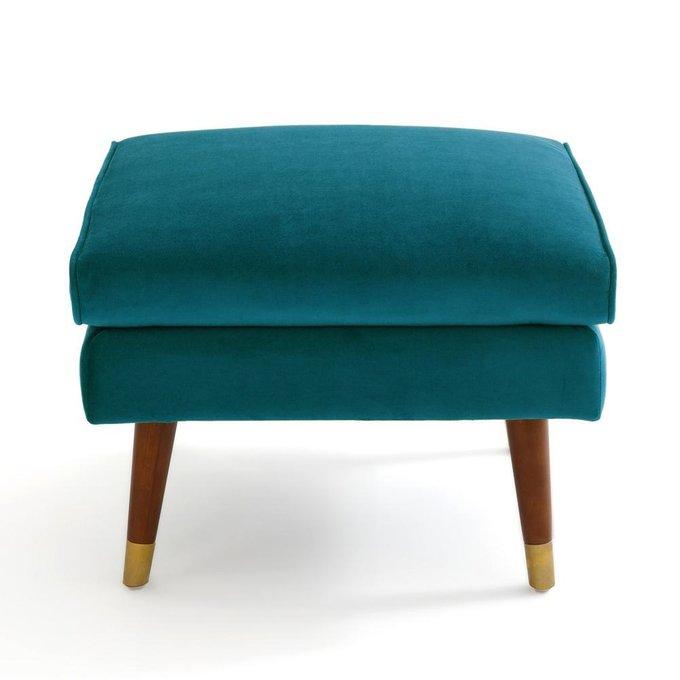 Пуф Wilde Y из велюра и полиэстера сине-зеленого цвета