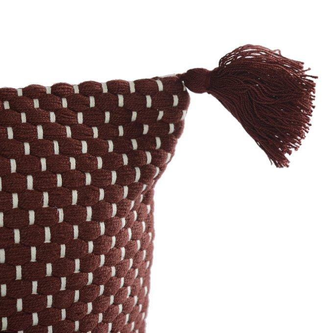 Подушка декоративная Ethnic бордового цвета крупной вязки