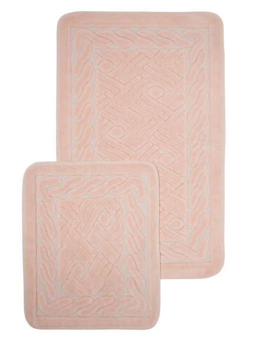 Набор из двух ковриков для ванной из хлопка цвета пыльной розы