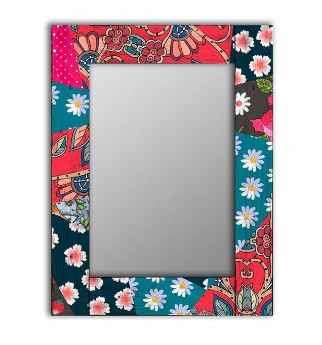 Настенное зеркало Июль в раме из массива сосны 65х65