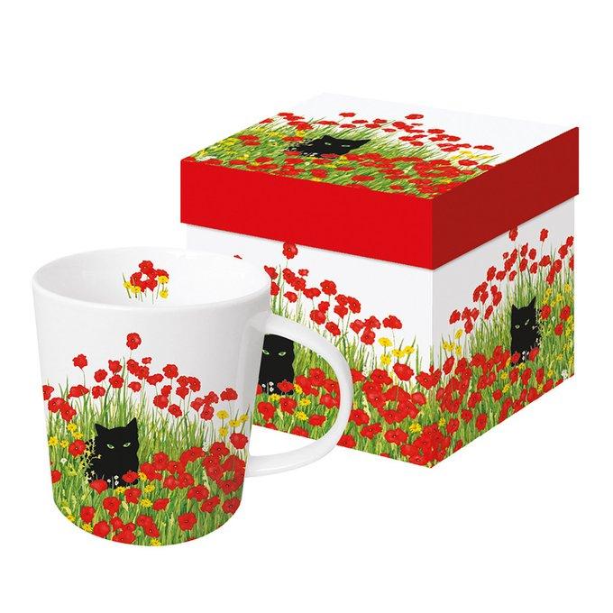 Кружка в подарочной упаковке Paperproducts Design black cat poppies 350 мл
