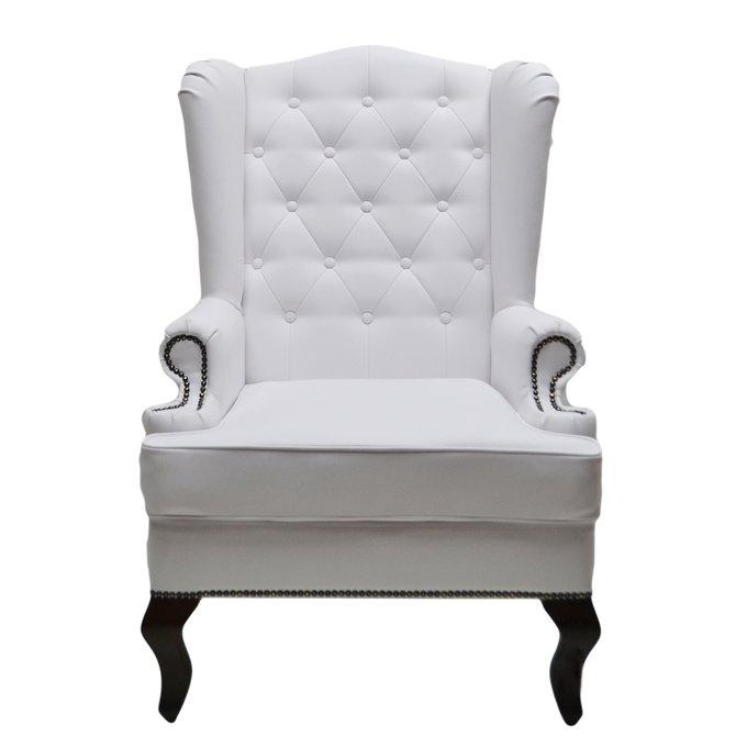 Каминное кресло с ушами из экокожи белого цвета