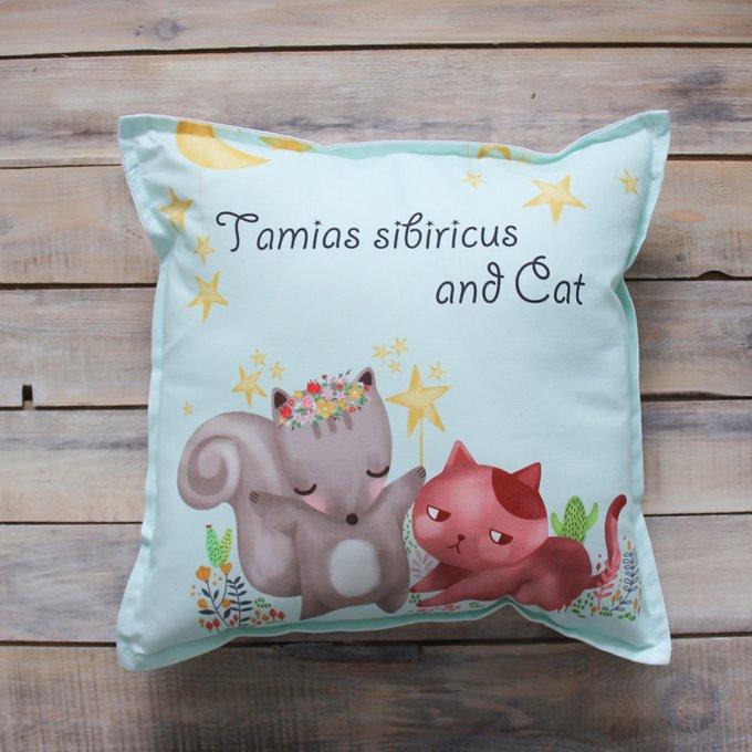 Подушка Tamias Sibiricus and Cat