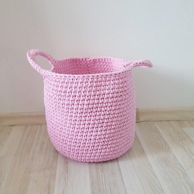 Вязаная корзина Розовая большая с ручками