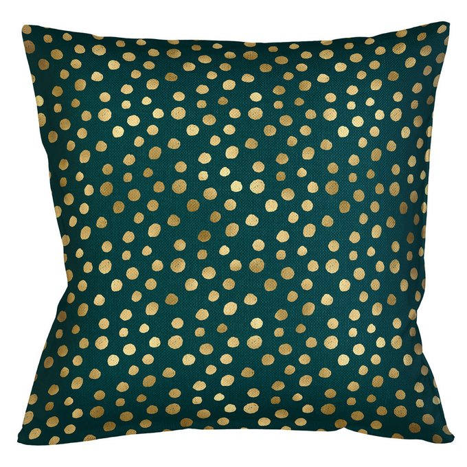 Интерьерная подушка Пятнистая изумрудного цвета