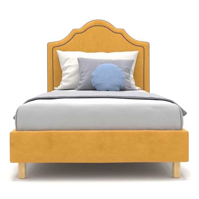 Односпальная кровать Kylie Kids на ножках желтого цвета 90х200