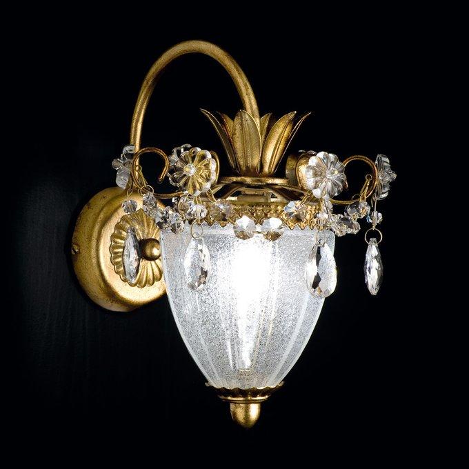 Бра MM Lampadari RUGIADA  с плафоном из муранского стекла ручной выдувки и хрустальными элементами