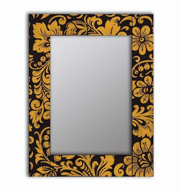 Настенное зеркало Желтые цветы в раме из массива сосны 75х140