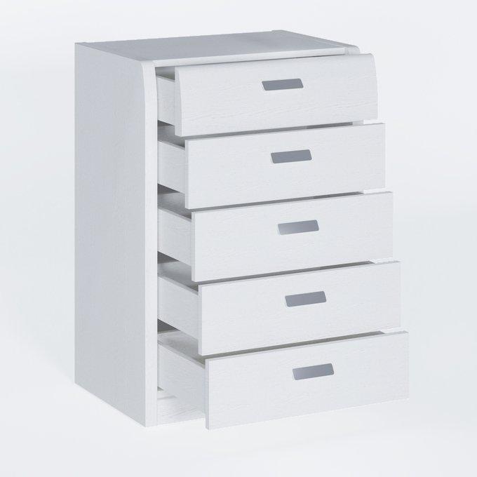 Комод Илона белого цвета с пятью ящиками