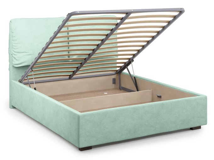Кровать Trazimeno с подъемным механизмом ментолового цвета 160х200