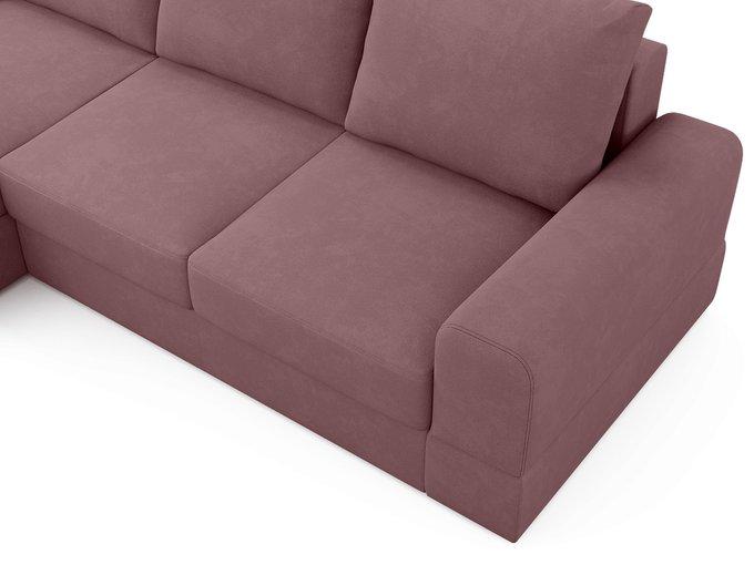 Угловой диван-кровать левый Elke темно-розового цвета