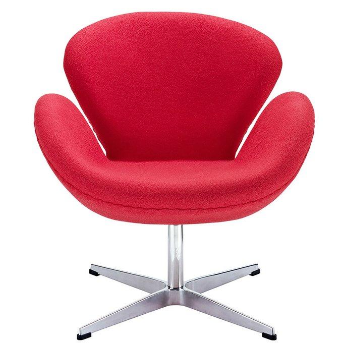Кресло Arne Jacobsen Style Swan Chair красная шерсть