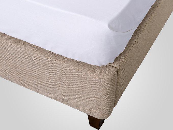 Кровать с обивкой из ткани бежевого цвета 180X200