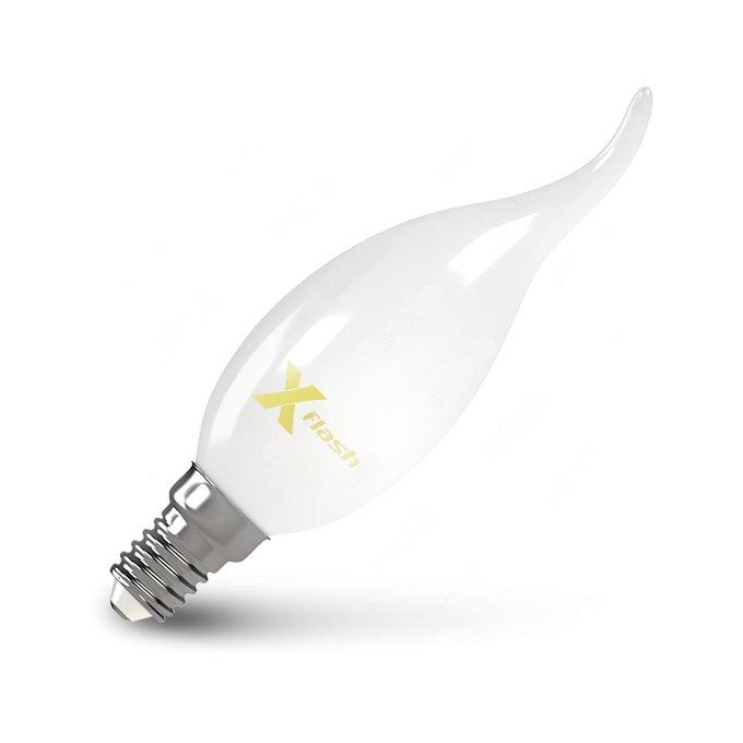 Лампа светодиодная Свеча на ветру матовая белого цвета