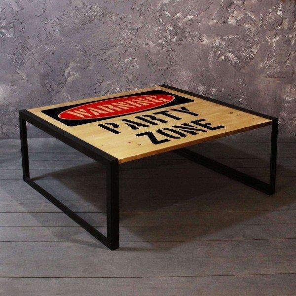 Журнальный стол Party Zone из массива сосны и стали