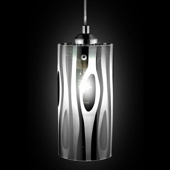 Подвесной светильник белый с хромированным рисунком
