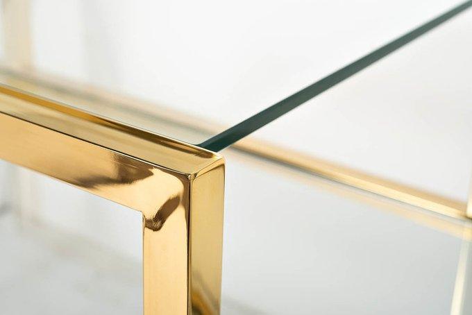 Консоль из стекла и стали золотого цвета