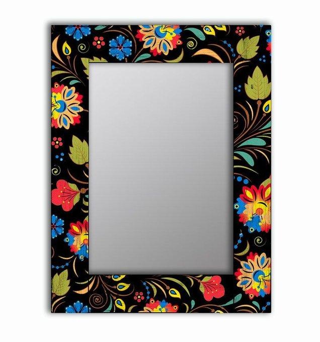 Настенное зеркало Цветочный фейерверк в раме из массива сосны 75х110