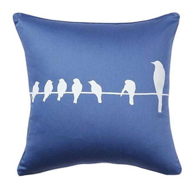 Подушка с принтом Birdies On A Wire Diamond-Blue