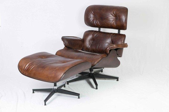Кожаное кресло с пуфом lounge