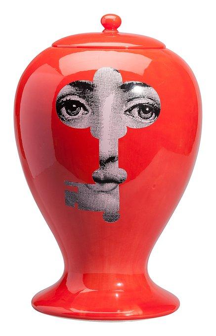 Декоративная ваза с крышкой Serratura Red Maxi