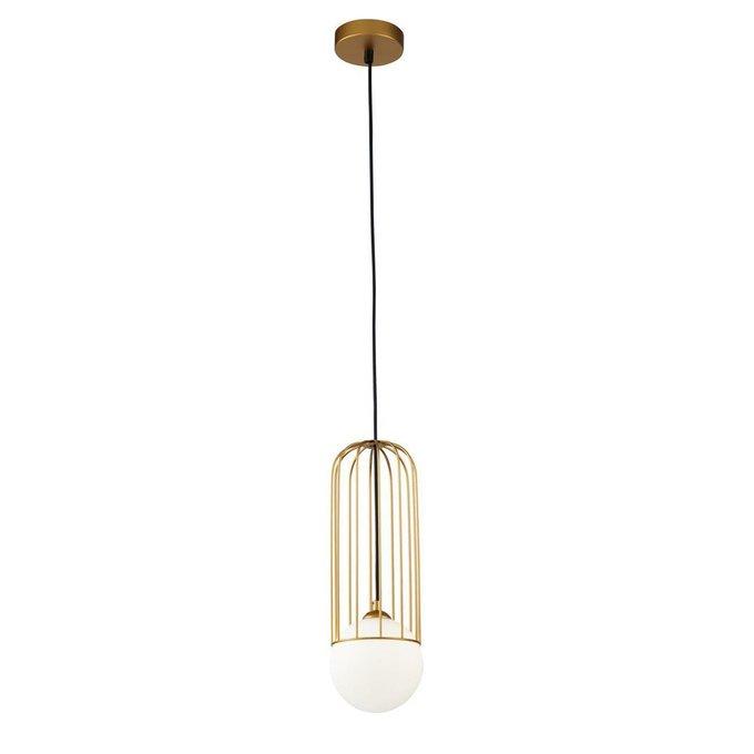 Подвесной светильник Telford золотого цвета с белым плафоном