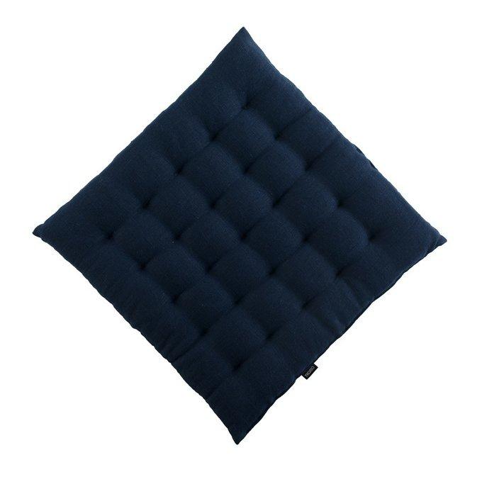 Декоративная подушка на стул из умягченного льна темно-синего цвета