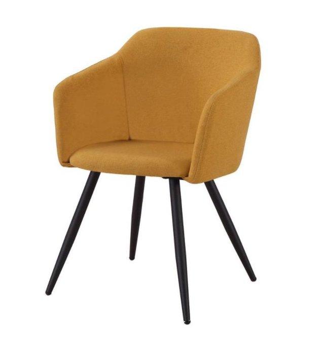 Набор из четырех стульев Уолтер с обивкой из ткани желтого цвета