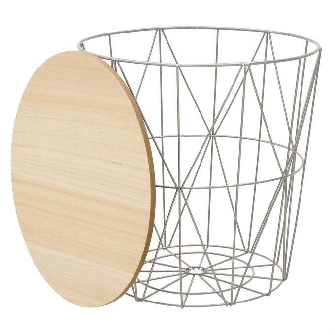 Журнальный столик-корзина из дерева и металла