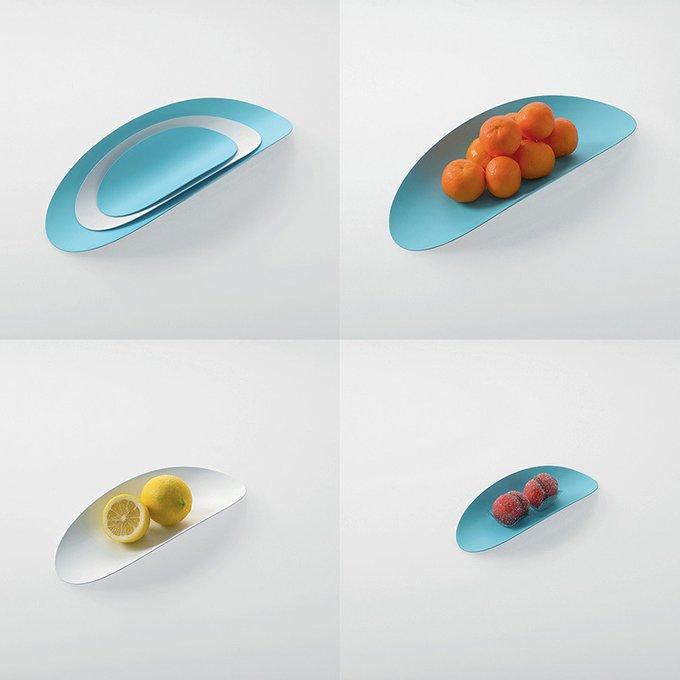 Набор из 3-х стальных блюд ellipse (голубой & белый)