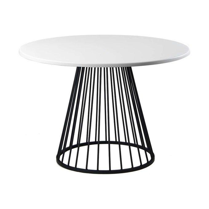 Обеденный стол Twister Black с белой столешницей