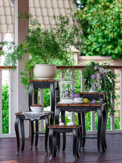 Комплект консольных столиков из массива дерева
