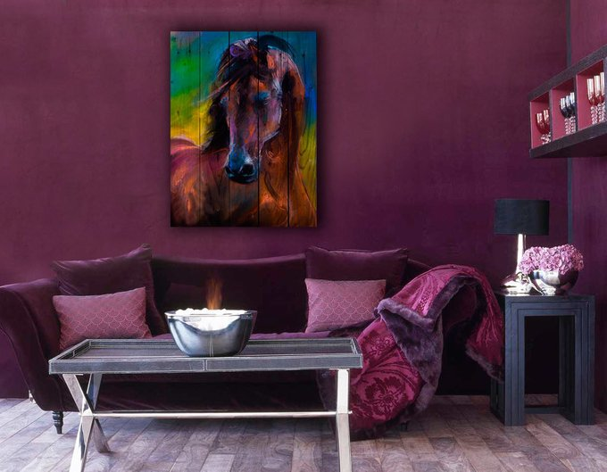 Картина на дереве Лошадь Акварель 150х100