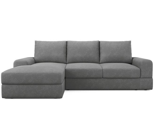 Угловой диван-кровать левый Elke серого цвета