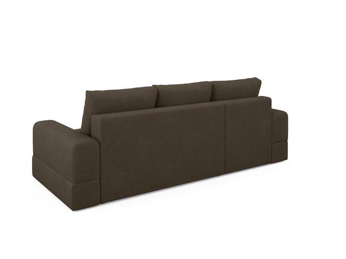 Угловой диван-кровать левый Elke темно-коричневого цвета