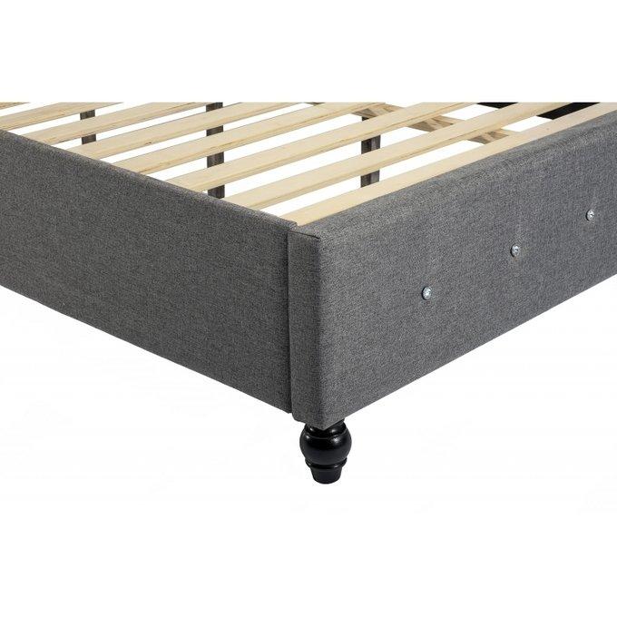 Кровать двуспальная Rebecca 160х200 темно-серого цвета