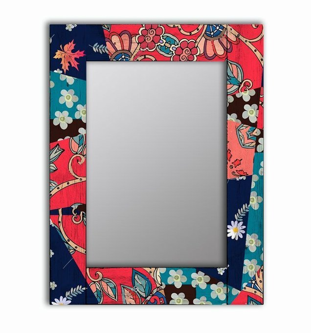 Настенное зеркало Сентябрь в раме из массива сосны 65х80