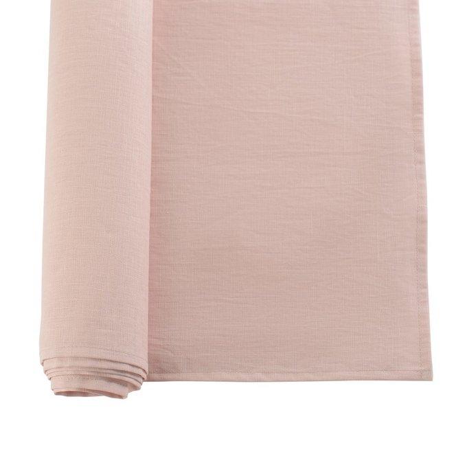 Дорожка на стол из умягченного льна цвета пыльной розы