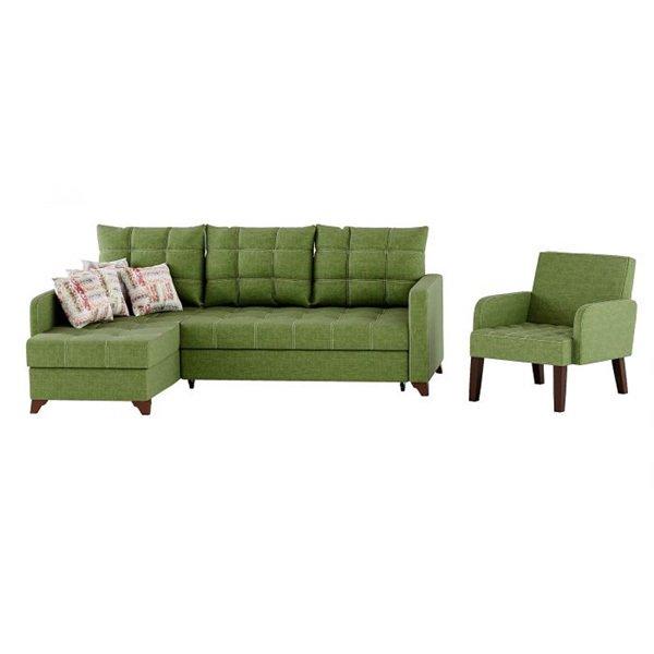 Угловой диван-кровать с креслом Квадро  зеленого цвета