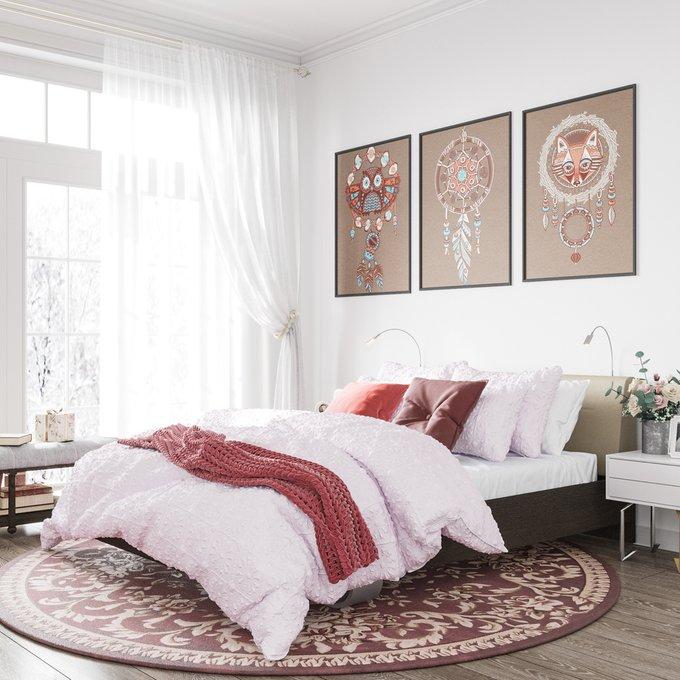 Кровать Элеонора 140х200 с изголовьем бежевого цвета и двумя светильниками
