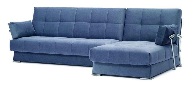 Угловой диван с подлокотниками Дудинка Galaxy синего цвета