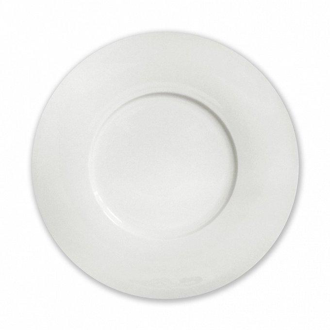 Тарелка столовая бортовая Космос белого цвета