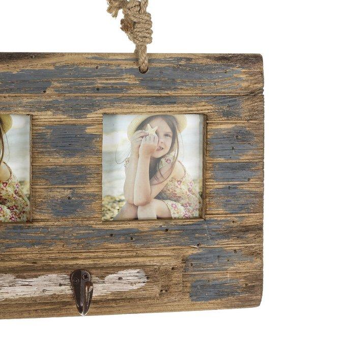Вешалка настенная-фоторамка из дерева
