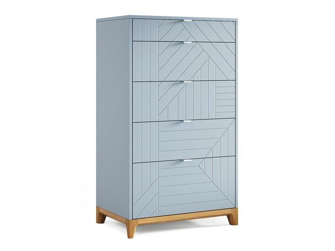 Высокий комод Case серо-голубого цвета