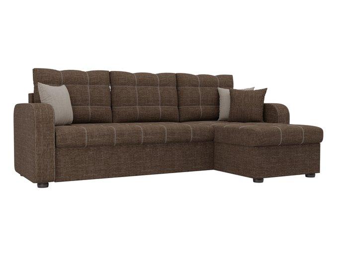 Угловой диван-кровать Ливерпуль коричневого цвета