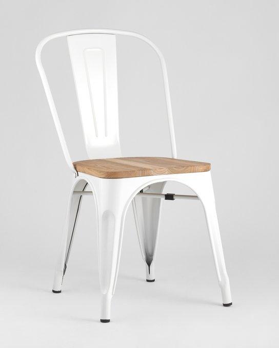 Стул Tolix Wood c металлическим каркасом белого цвета