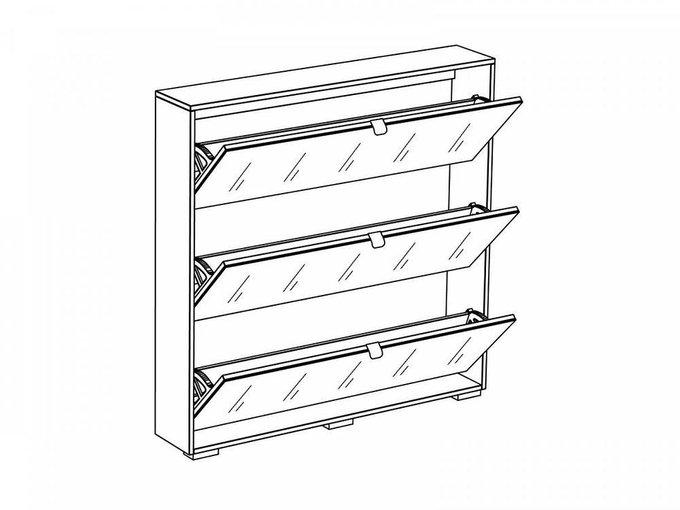 Шкаф для обуви Wide с фасадом из стекла белого цвета